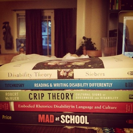 Stack of 5 books about dis/ability, listed below (Siebers, Titchkosky, McRuer, Wilson & Lewiecki-Wilson, Price)